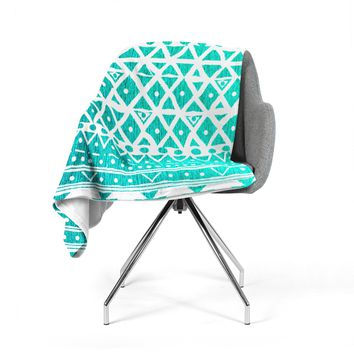 "Nika Martinez ""Aquamarine Tribal"" Teal Blue Fleece Throw Blanket"