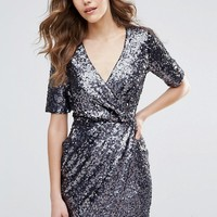 French Connection Lunar Sparkle Wrap Party Dress at asos.com