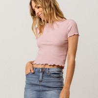 HEART & HIPS Ribbed Lettuce Edge White Womens Crop Tee