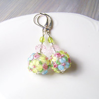 Lampwork Earrings, Glass Earrings, Flower Lampwork Earrings, pink and green spring earrings