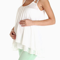 White Sheer Rhinestone Accent Maternity Tank