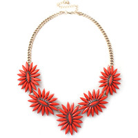 Women Glam Solid Floral Faux Stone Necklace