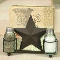 Set of 2 Star Salt Pepper & Napkin Caddy