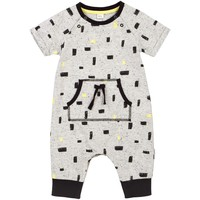 Baby Boys Block Print Grey Playsuit