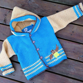 Children's Sweater Hoodie, Handmade Crochet owl cardigan sweater with hood, Baby Sweater size 4
