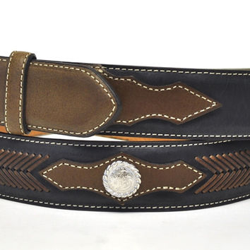 Nocona Men's Western Concho Leather Belt & Buckle-Black