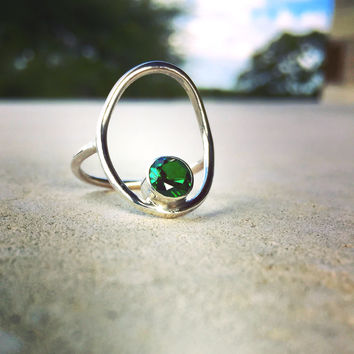 Circle Ring with Gemstone, Minimalist Geometric Circle Ring with Gem