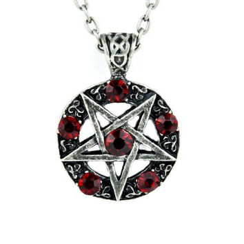 Inverted Pentagram Ritual Necklace with Red Stones