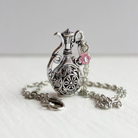 Ornate Silver Metal Pitcher Pendant with Light Rose Swarovski Crystal - Victorian-Inspired Jewelry - Handmade Necklace - Ready to Ship