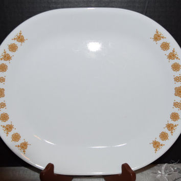 Corelle Butterfly Gold Oval Serving Platter Vintage 1970's Corelle Corning Large Serving Platter Pyrex Compatible Up to 3 Platters Available