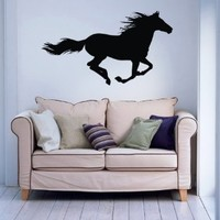 Beautiful Running Horse Gallops Animal Wall Vinyl Decal Art Sticker Home Modern Stylish Design Interior Decor for Any Room Smooth and Flat Surfaces Housewares Murals Window Graphic Bedroom Living Room (3708)