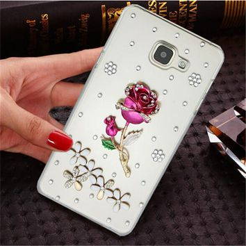 Luxury 3D fox rose bling Crystal Mobile phone Shell Transparent Back Cover Hard Case For Samsung Galaxy J1 Mini (2016) J105 4.0