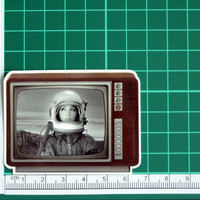 Vintage Television Set Astronaut Girl Sticker Decal