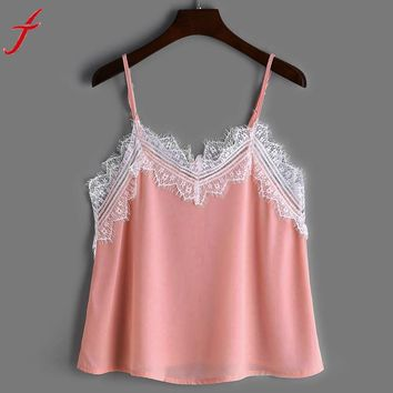 Lace Patchwork Camis 2017 Summer Sexy Women Casual Sleeveless Crop Top Vest Tank Shirt Cami Top Pink V Neck Cami Blouse