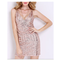 Rose Gold Bodycon Geometric Sequin Dress