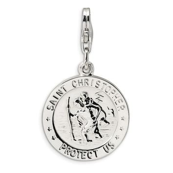 925 Sterling Silver St. Christopher Medal with Lobster Clasp Charm