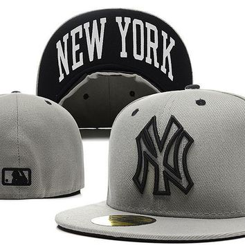 ESBON New York Yankees New Era MLB Authentic Collection 59FIFTY Caps Grey-White