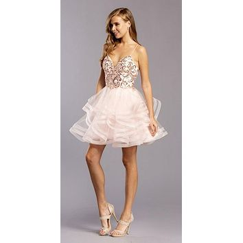 Sequin-Bodice Blush Tiered Homecoming Short Dress