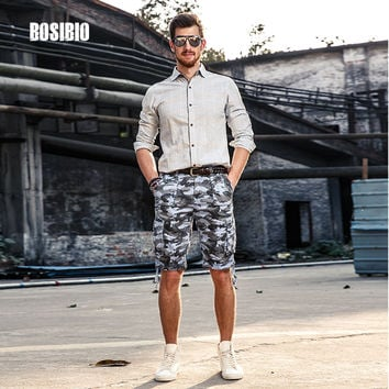 mens Camouflage Cargo Shorts Knee Length Loose Cotton Multi-Pocket Male Tactical Shorts