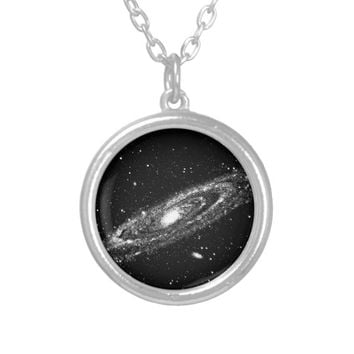 Andromeda Galaxy Space astronomy Celestial art Silver Plated Necklace