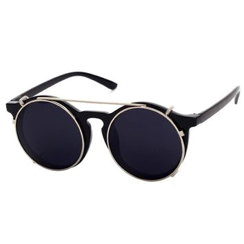 Cubojue Clip on Round Sunglasses Men Women Vintage Steam Punk Retro Mirror Sunglass anti sun Glasses Uv400 large circle 50mm