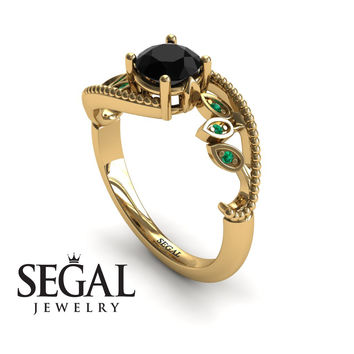 Unique Engagement Ring 14K Yellow Gold Leafs And Branches Victorian Ring Filigree Ring Black Diamond With Green Emerald - Audrey