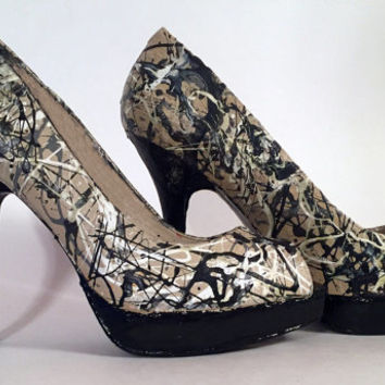 Hand Painted Pumps - Jackson Pollock 'Autumn Rhythm (Number 30)' High Heels