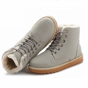 NEW Women Boots Warm Winter Snow Boots Suede Ankle Boots Thick Plush Inside Waterproof