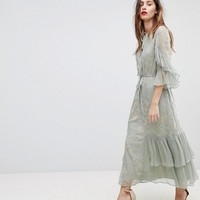 Stevie May Floral Embroidered Maxi Dress With Panelled Frill Detail at asos.com