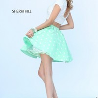 Sherri Hill 32247 Two-Piece Cutout Back Pearl Beaded Top Polka Dot