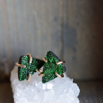 Uvarovite Studs. Gold Filled Prong Earrings. Green Garnet Raw Rough Stone Earrings. One of a Kind Garnet Studs. Green and Gold Delicate Stud
