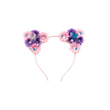 Pink Purple Rhinestone Cat Ear Headband, Floral Cat Ears, Kitty Ears Headband, Rave Wear, Coachella Crown, Electric Daisy Carnival, Ezoo