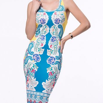 Casual Sleeveless Round Neck Paisley Tribal Printed Bodycon Dress