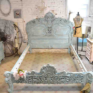 Painted Cottage Shabby  French Aqua Queen / King Romantic  Bed BD22