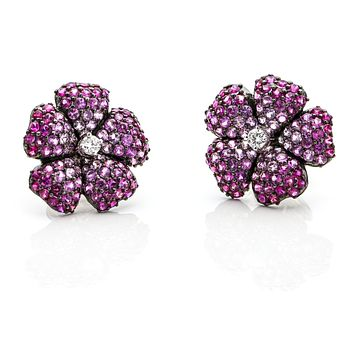 3.95 Carat 18k White Gold Pink Sapphire Diamond Flower Stud Earrings