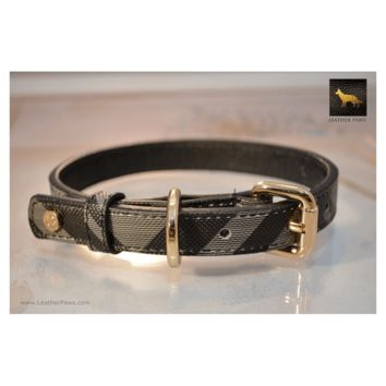 Black Designer Leather Dog Collar