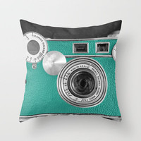 Teal retro vintage phone Throw Pillow by Wood-n-Images | Society6