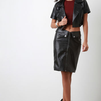 Vegan Leather Zipper Pencil Skirt