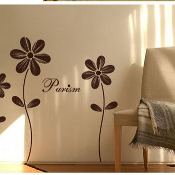 Vinyl wall sticker wall decal art-lovely flower