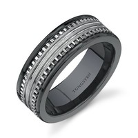 Rounded Edge 7 mm Comfort Fit Mens Black Ceramic and Tungsten Combination Wedding Band Ring Size 8 to 13
