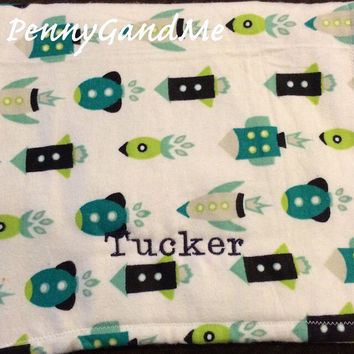Rocket Ship Burp Cloth ~ Boy Burp Cloth ~ Personalized Burp Cloth ~ Flannel Burp Cloth ~ Cloth Diaper Burp Cloth ~ Sets Available