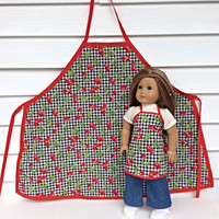 18 Inch Doll and Girl Matching Aprons, Cherry Aprons for Dolly and Me, Sized for American Girl Dolls, Girl's Size Large