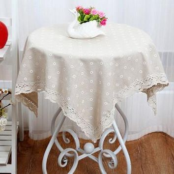 Large Plaid Floral Cotton Linen 2017 New Square Custom Round Tablecloths Waterproof Oilproof Tablecover Pastoral Style Lace