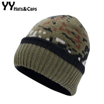 Camouflage Beanies Skullies For Men Winter Thicken Caps Army Hunting CS Warm Hats Knitted Camo Ski Hats Bonnet Gorros YY18018