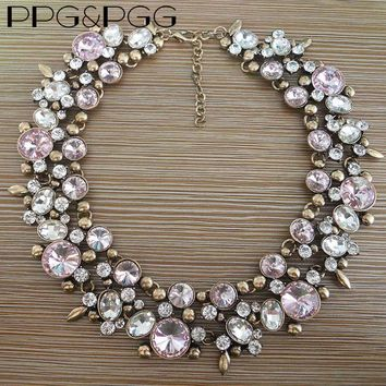 PPG&PGG Fashion Accessory Pink Rhinestone Collares Crystal Jewelry Choker Necklaces Shine Glass Statement Neckalce