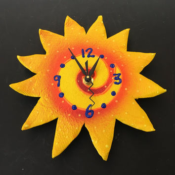 Here Comes The Sun Clock, Whimsical Sunshine Clock,   Sun Clock, Wall Art,Ceramic Sun