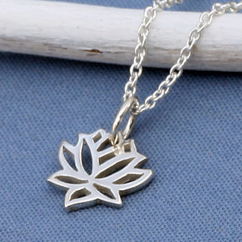 Silver Lotus Necklace, Sterling Silver, Tiny, Small,Petite,Blooming Flower,Yoga, Zen,Open Works, Buddhist,Yoga Necklace.Yoga Jewelry
