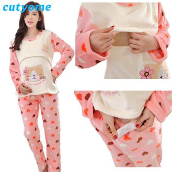 Maternity Breastfeeding Pajamas Sets Cutyome Winter Flannel Thick Warm Nursing Nightgown for Pregnantw Womens Nightwear Pijamas