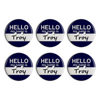 Troy Hello My Name Is Plastic Resin Button Set of 6