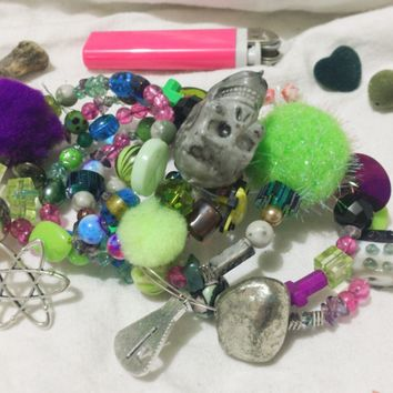 Toxic Boneyard Neon Multimedia Beaded Memory Wire Bracelet